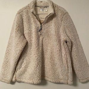 Cream Faux Fur Sherpa Pullover